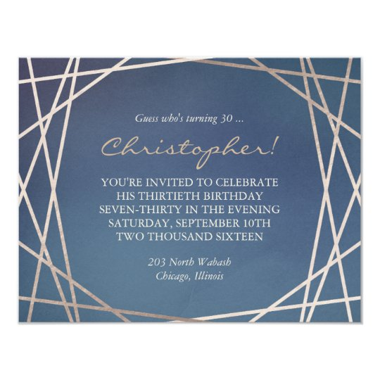 Dark Opaline Birthday Invitation Champagne Gold