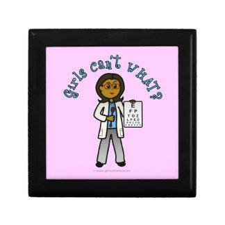 Dark Optometrist Girl Small Square Gift Box