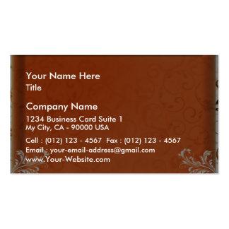 Dark orange damask wedding gift pack of standard business cards