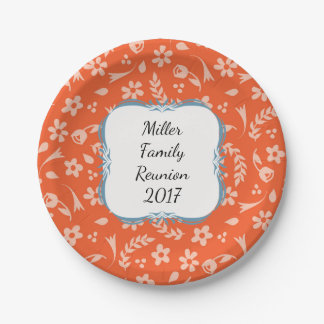 Dark Orange Floral Personalized Paper Plates