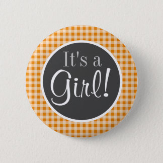 Dark Orange Gingham 6 Cm Round Badge