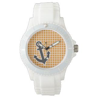 Dark Orange Gingham; Anchor Wristwatch