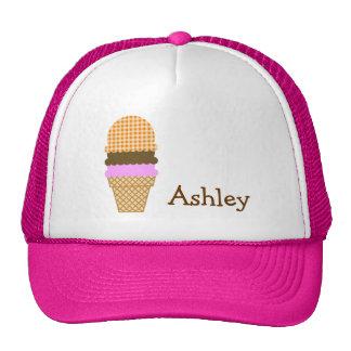 Dark Orange Gingham; Ice Cream Cone Trucker Hat