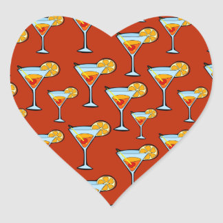 Dark Orange Martini Cocktail Pattern Heart Sticker