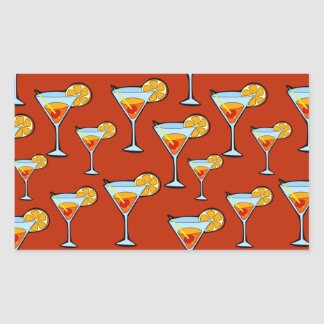 Dark Orange Martini Cocktail Pattern Rectangular Sticker
