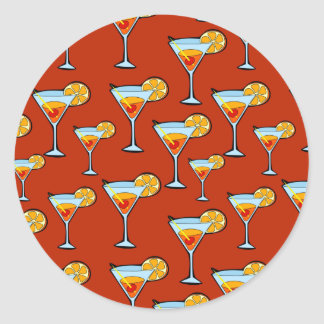 Dark Orange Martini Cocktail Pattern Round Sticker