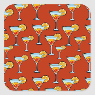 Dark Orange Martini Cocktail Pattern Square Sticker