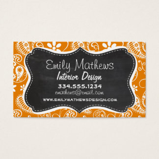 Dark Orange Paisley; Vintage Chalkboard look