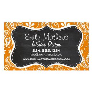 Dark Orange Paisley; Vintage Chalkboard look Pack Of Standard Business Cards