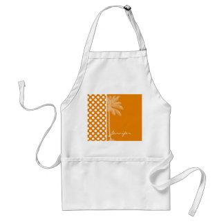 Dark Orange Polka Dots; Summer Palm Adult Apron