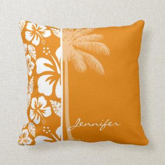 Dark Orange Tropical Hibiscus; Summer Palm Cushion