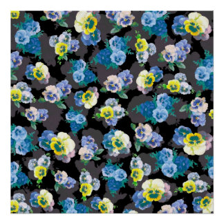 Dark pansies elegant flower print