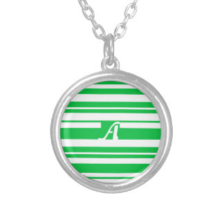 Dark Pastel Green and White RandomStripes Monogram Custom Necklace