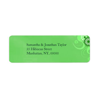 Dark Pastel Green Floral Return Address Labels