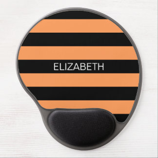Dark Peach Black Horiz Rugby Stripe Name Monogram Gel Mouse Pad