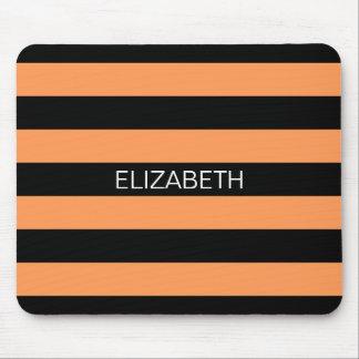 Dark Peach Black Horiz Rugby Stripe Name Monogram Mousepad
