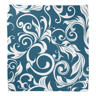 Dark Peacock Blue Floral Wallpaper Pattern Bandana