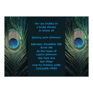 Dark Peacock Bridal Shower Personalized Invites