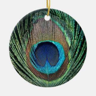 Dark Peacock Feather Round Ceramic Decoration