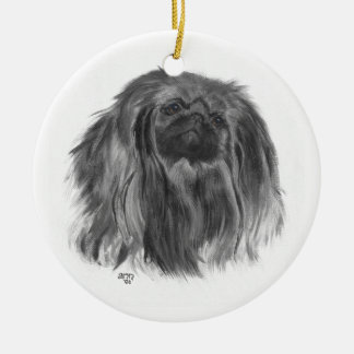 Dark Pekingese Round Ceramic Decoration