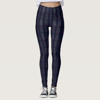Dark Pineapple Pop Patterned Leggings