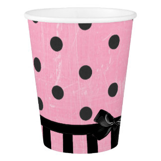 Dark Pink and Black Polka Dot Striped  Paper Cup