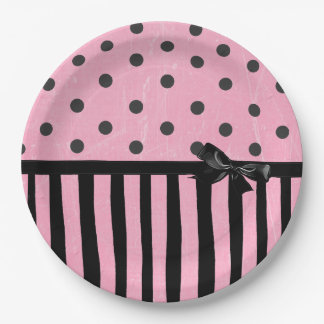 Dark Pink and Black Polka Dot Striped  Paper Plate 9 Inch Paper Plate