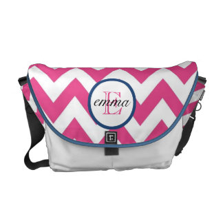 Dark Pink and Navy Blue Monogram Diaper Bag Courier Bags