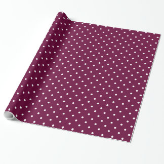 Dark Pink and White Polka Dots Wrapping Paper