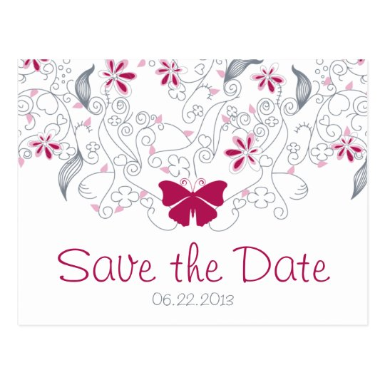 Dark Pink Butterfly Whimsy Save the Date Postcard