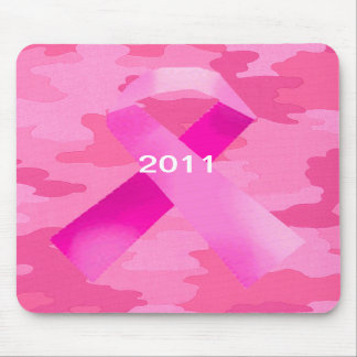 Dark Pink Camouflage Pink Ribbon Date Mouse Pad