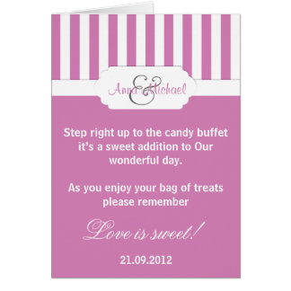 Dark Pink candy stripe Candy Buffet Poem Card