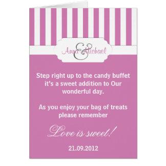 Dark Pink candy stripe Candy Buffet Poem Card