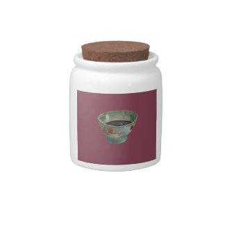 DARK PINK COFFEE CUP CANDY JAR