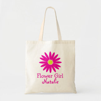 Dark Pink Daisy with Customizable Text Tote Bag