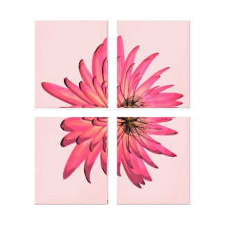 Dark Pink Floral Illustration Wrapped Canvas Art