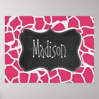 Dark Pink Giraffe Animal Print; Chalkboard