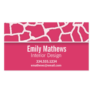 Dark Pink Giraffe Animal Print; Personalized Double-Sided Standard Business Cards (Pack Of 100)