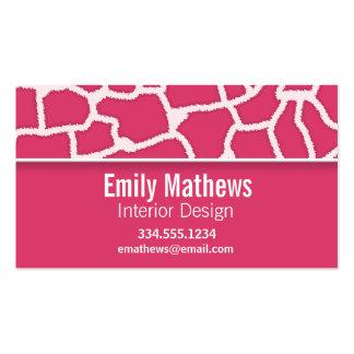 Dark Pink Giraffe Animal Print; Personalized Business Card Template