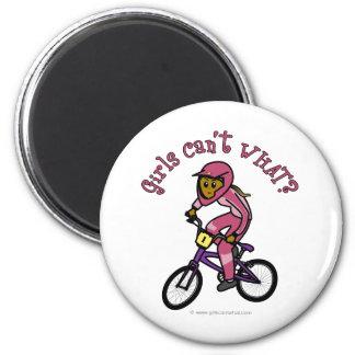 Dark Pink Girls BMX Refrigerator Magnet