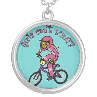 Dark Pink Girls BMX Silver Plated Necklace