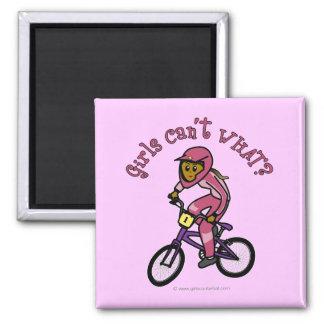 Dark Pink Girls BMX Square Magnet