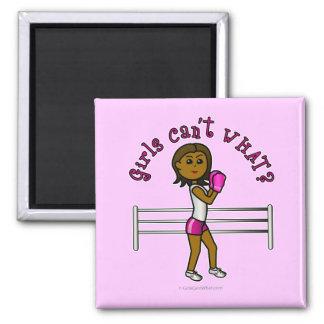 Dark Pink Girls Boxing Refrigerator Magnet