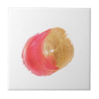 Dark Pink Gold Metallic Paint Swirl Accent Tile