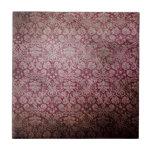 Dark pink grunge damask wallpaper ceramic tiles