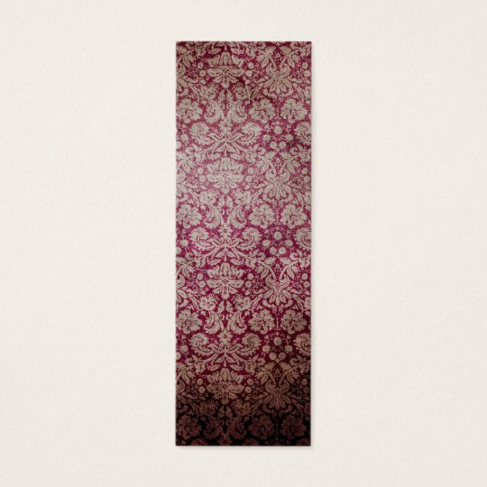 Dark pink grunge damask wallpaper mini business card