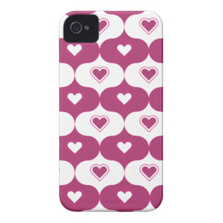 Dark Pink hearted pattern iPhone 4 Case-Mate Cases