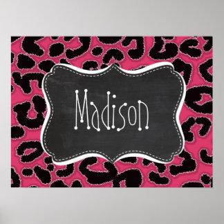 Dark Pink Leopard Animal Print; Chalk look