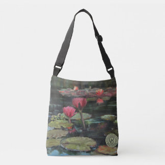 Dark Pink Lily Cross-Over Bag—Medium Crossbody Bag