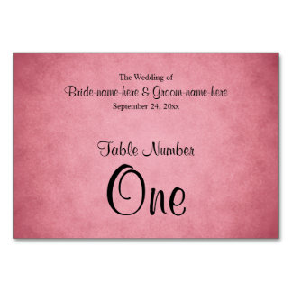 Dark Pink Mottled Pattern Wedding Table Number